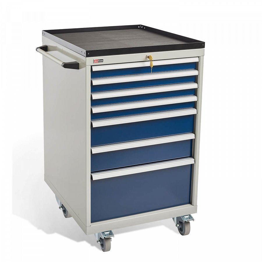 DiKom VS-077 Tool Cabinet with castors, a tray and a side handle