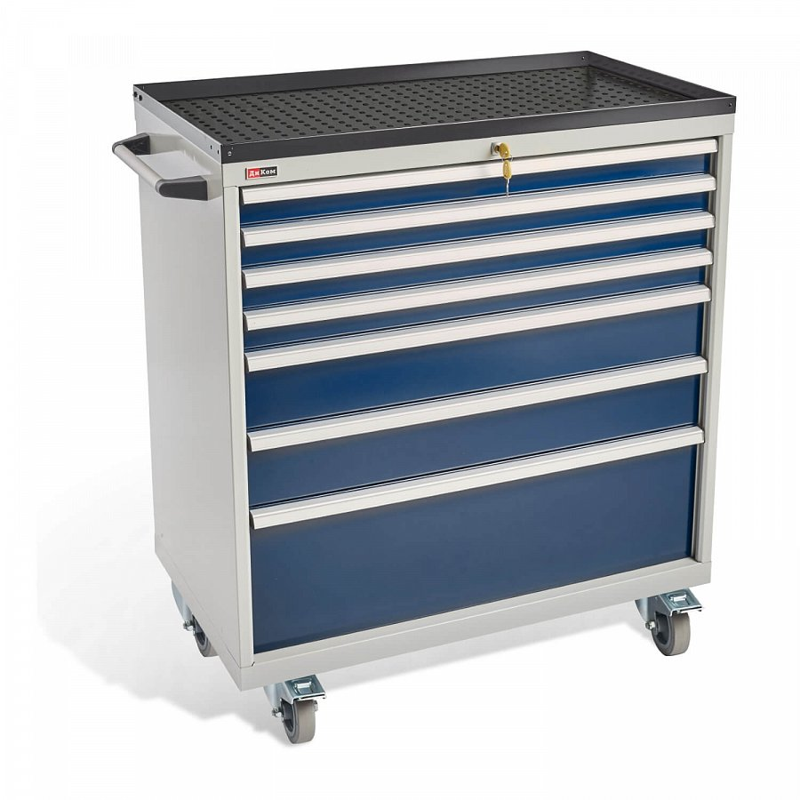 DiKom VS-037 Tool Cabinet with castors, a tray and a side handle