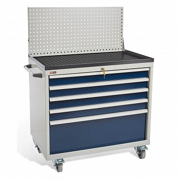 DiKom VS-035 Tool Cabinet with a panel, a tray, castors and a side handle