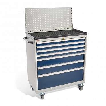 DiKom VS-037 Tool Cabinet with a panel, a tray, castors and a side handle