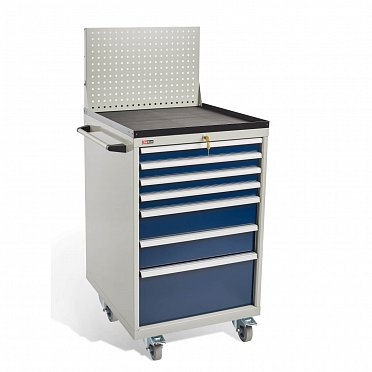 DiKom VS-077 Tool Cabinet with castors, a tray, a panel and a side handle