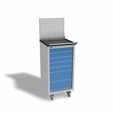 DiKom VL-017 Tool Cabinet with a Perforated Panel, Tray, Castors, and Side Handle