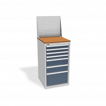 DiKom VS-017 Tool Cabinet with castors, a tray, a panel and a side handle