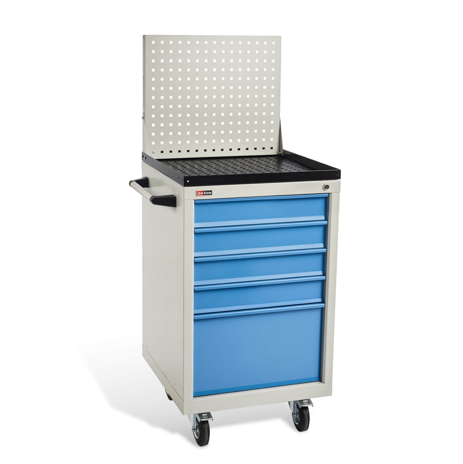 DiKom VL-015 Tool Cabinet with a Perforated Panel, Tray, Castors, and Side Handle