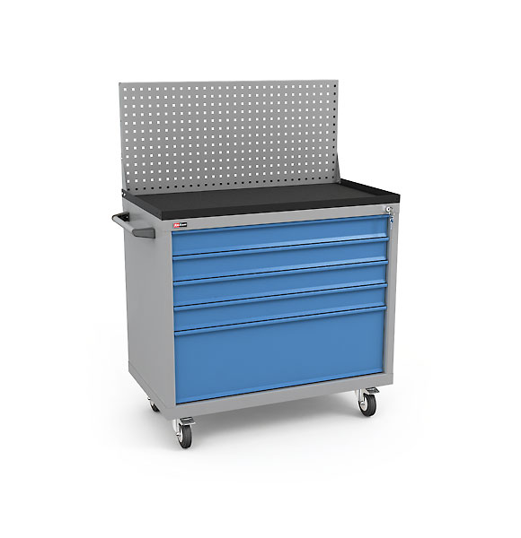 DiKom Drawer Unit VL-035 with Perforated Panel, Tray, Castors, and Side Handle
