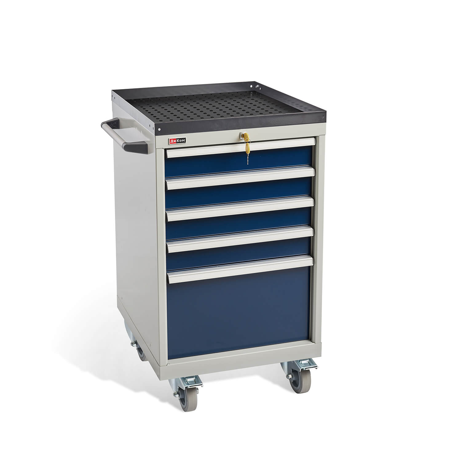 DiKom VS-015 Tool Cabinet with castors, a tray and a side handle