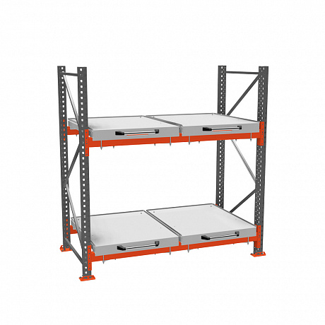 Roll-out shelf rack (2-tier)