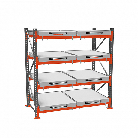 Roll-out shelf rack (4-tier)