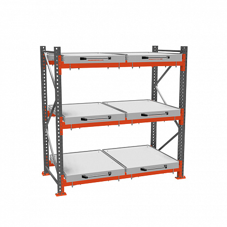 Roll-out shelf rack (3-tier)